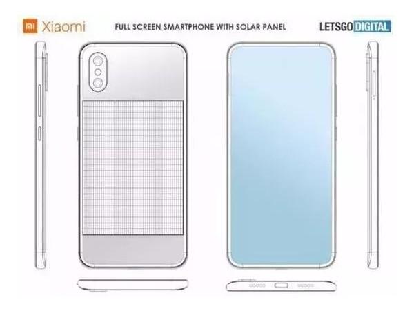 小米手机新专利正面全面屏背部太阳能电池板