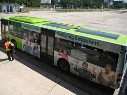香港九龙巴士车顶装太阳能板使用